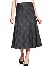 M&S Collection Checked Satin Long Skirt