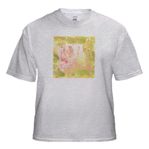 Gold Yellow and Pink Abstract Floral Art - Adult Birch-Gray-T-Shirt 2XL