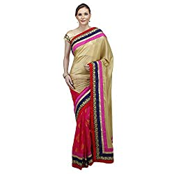 Heart and Arrow women's creape bandhani embroidered sari saree [2021_multicolor]