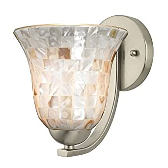 Sconce with Mosaic Glass in Satin Nickel Finish - Wall Sconces - Amazon.com