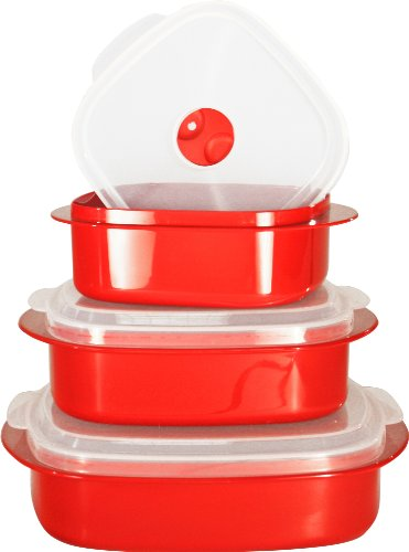 Reston Lloyd Calypso Basics 3-Piece Microwave Steamer Set, Red