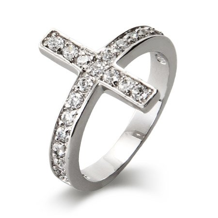 Sterling Silver CZ Sideways Cross Ring Size 8 (Sizes 5 6 7 8 9 Available)