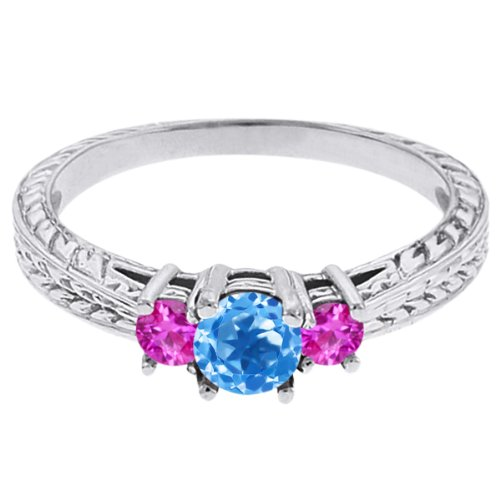 0.59 Ct Round Swiss Blue Topaz Pink Sapphire 14K White Gold 3-Stone Ring