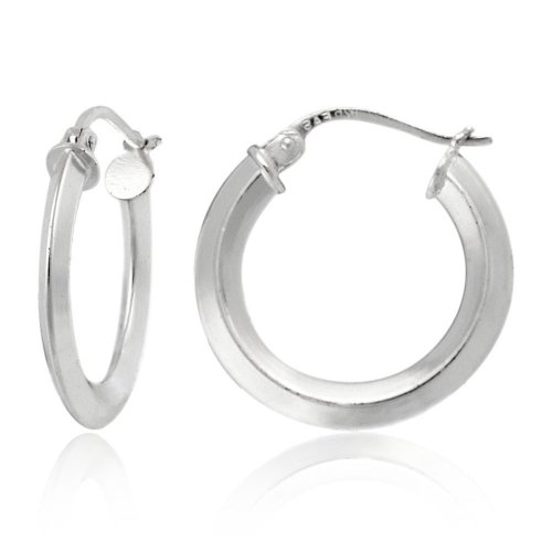 Sterling Silver Tarnish-Free Knife-Edge Hoop Earrings (0.7