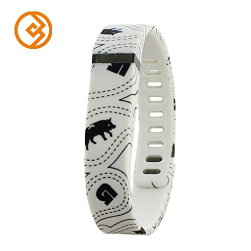 Bandcase Replacement Wristband Large or Small Size with Metal Clasp for Fitbit Flex Activity & Sleep Tracker (No Tracker) (White, Large)