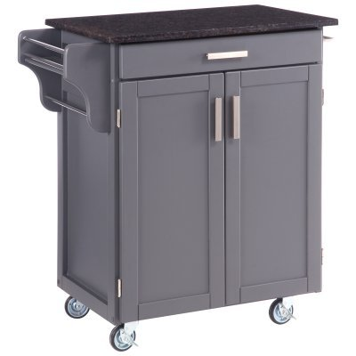 Cheap Home Styles Gray and Salmon Granite Top Kitchen Cart in Gray Finish (9001-0085)