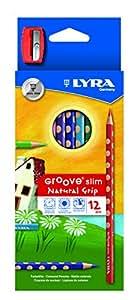 LYRA Slim Groove Child-Grip Pencils, 3 Millimeter Cores, Includes Sharpener, Set of 12 Pencils, Assorted Colors (2821120)