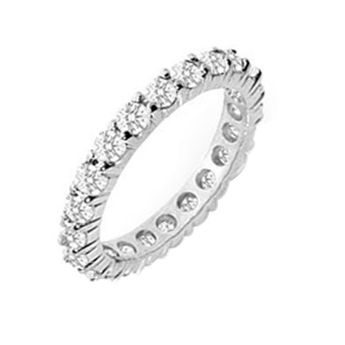2.00ttw Natural White Round Diamonds (VS-Clarity, F-G-Color) Prong Set Eternity Band in Platinum.