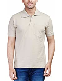 Fleximaa Men's Cotton Polo Collar T-Shirts With Pocket - Attractive Different Colors Avaiable To Choose.