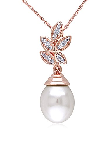 Michiko 10K Rose Gold, Diamond & 9-9.5 mm White Freshwater Pearl Pendant Necklace