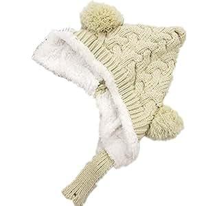 BuyHere Cute Unisex-Baby Knitting Cap Keeping Warm in Winter,Beige