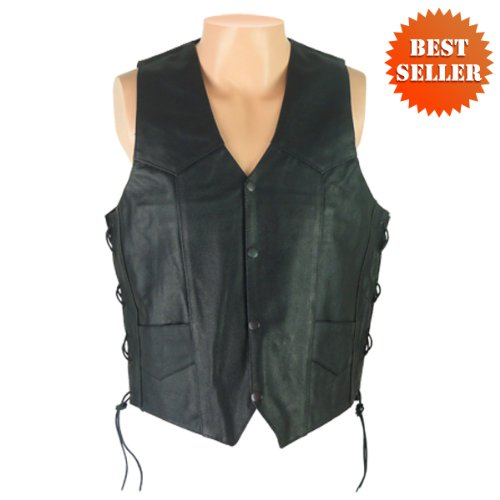 Leather Vests - Mens Leather Motorcycle Vest MV103