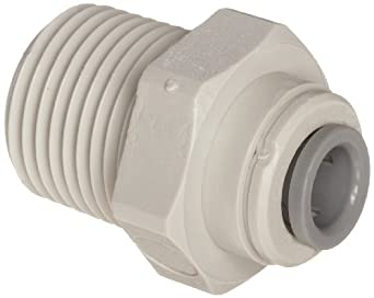 John Guest Acetal Copolymer Push-To-Connect Tube Fitting, Straight Adaptor, Tube OD x NPTF Male (Pack of 10)