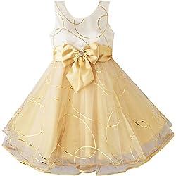 CB11 Sunny Fashion - Vestito tinta unita, bambina, giallo 2-3 anni