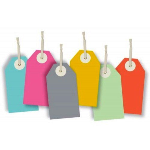 The Gift Wrap Company Recycled Paper Strung Gift Tags, 12 Count, Out On The Boardwalk front-852398