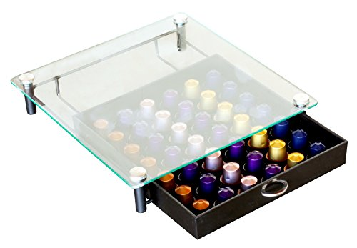 네스프레소 캡슐 홀더 보관함 Deco Brothers DecoBros Crystal Tempered Glass Nespresso OriginalLine Storage Drawer Holder for Capsules,Black