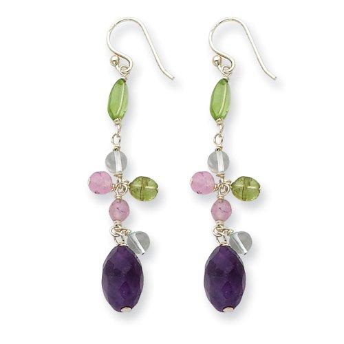 Violet Oval Shape Amethyst & Peridot Earrings In Sterling Silver - Shepherd Hook