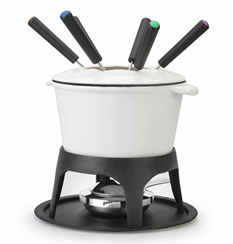 Artestia Cast Iron Fondue Set, serve 6 persons (White)