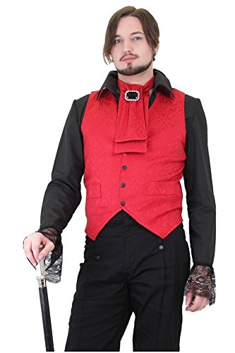 Mens-Scarlet-Red-Brocade-and-Black-Steampunk-Wedding-Cotton-Waistcoat-Sizes-S-2XL
