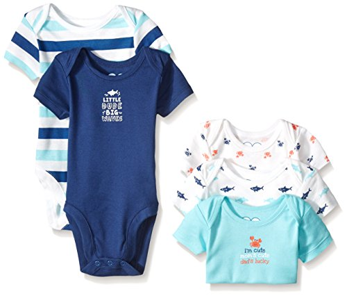 The Children's Place Boys' Sea Animal Bodysuits (Pack of 5), Simply White, 0-3 Months