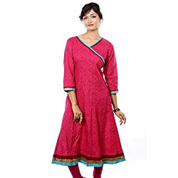 Saamarth Impex Women Cotton Pink Color Angrakha Style Printed 3/4 Sleeve Kurties SI-2063