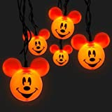 Disney Parks Mickey Mouse Orange Halloween Set of 10 Pumpkin Lights String