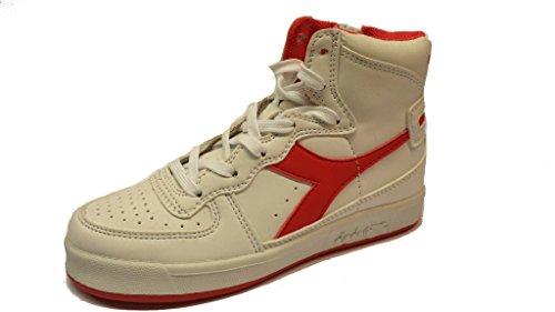 diadora mi basket jr, bianco rosso,pelle, lacci+cerniera, 34 eu