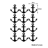 """Yanqiao 12PCS Baby Room Anchors Wall Pattern Removable Safety Vinyl Lettering Nautical Sticker Decal 2.36*2.56"""""""