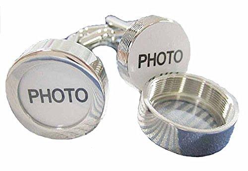 korpikus® Männer glänzende silberne Farbe Edelstahl Foto Manschettenknöpfe In Free Geschenk-Beutel