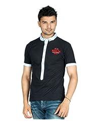 Guerrilla Black Cotton Collar Neck Half Sleeves Tshirt For Men | GUD40BLACK