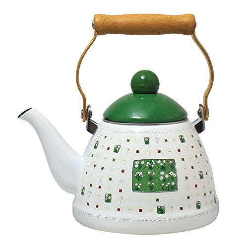 JustNile Country-Style Decorative Enameled iron Tea Kettle with Vintage Wooden Handle - 1.2 Quarts, Green & White Floral Pattern