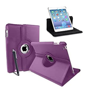 MOFRED® Purple New Apple iPad Air (Launched 2013) Rotating Case-MOFRED®-360 Degree Rotating Standby Case for Apple iPad Air with Built-in magnet for Sleep & Awake Feature + iPad Air Screen Protector Film + Stylus Pen (available in multiple colors)