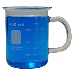 400ml Borosilicate Glass Beaker with Handle - Microwave Safe - Excellent for Use in the Lab, or as a Novelty Coffee Mug