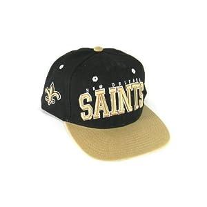 NFL Licensed New Orleans Saints 2 Tone Flat Bill Snap Back Baseball Hat Cap Lid by NFL