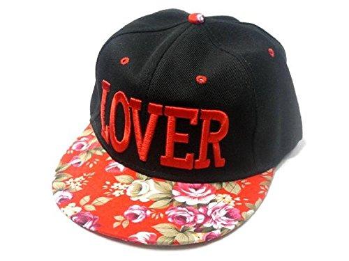 LOVER BBキャップ 花柄 B系 ストリート ファッション 男女兼用 (レッド)