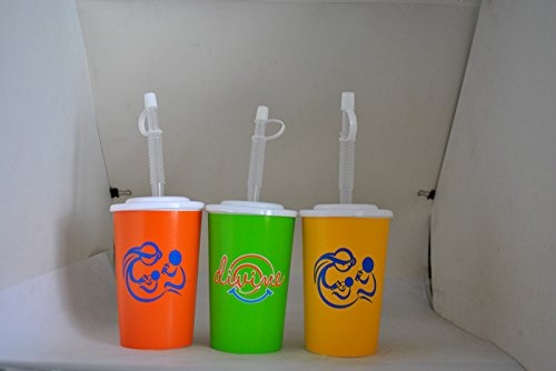 Durable Cups for Children. They Come with Straw and Lid. The Cups Are Free of BPA, PVC and Melamine. The Cups are 420 ml/14.2 oz in Size, and Available in Orange, Green or Yellow.
