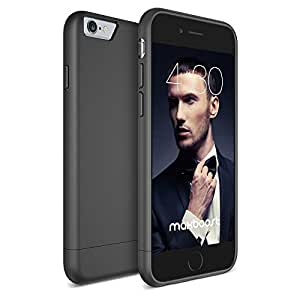 iPhone 6 Case - Maxboost [Vibrance Series] iPhone 6 Case Slider StyleProtective SOFT-Interior Scratch Protection Finished Hard Cases Cover - Smooth Black