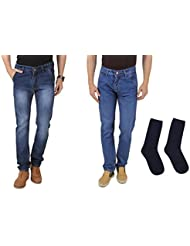 UK Blue Men Jeans Combo Of Dark Blue And Light Blue Jeans With Blue Socks