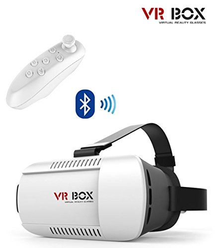 """3D VR Box (with Bluetooth Controller) Headset Glasses Virtual Reality Mobile Phone 3D Movies for iPhone 6s/6 plusSamsung Galaxy s5/s6/note4/note5 and Other 4.7""""-6.0"""" Cellphones"""