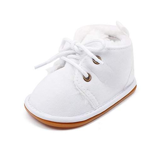 Delebao Baby Lace Up Non Slip Rubber Sole Suede Martin Boots Sneakers (12-18 Months, White)