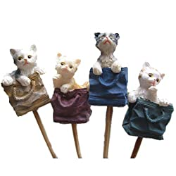 Generic 4pcs Rural Style Home Garden Cat Stick Stake