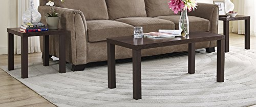 WE Furniture 3-Pack Wood Coffee Table Set, Espresso (Brown Coffee Table Set compare prices)
