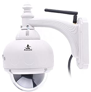 Agasio A622W Outdoor Wireless Pan/Tilt IP Camera with IR-Cut Off Filter for TRUE COLOR Images (Not Washed Out), Auto-Iris (Auto-Brightness Adjustment), IP66 Waterproof Enclosure, 50ft Nightvision, 4mm lens (72° Viewing Angle), Synology & Blue Iris Compatible, Pan 360° Tilt 90°, White