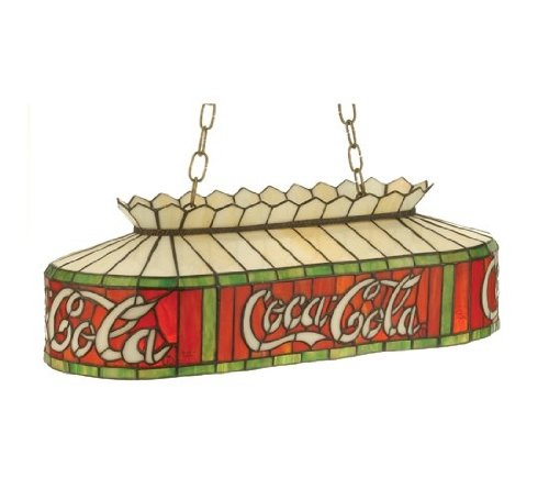 "Meyda Home Dining Room Kitchen Decorative Accent Hanging Lighting Fixture 24""L Coca-Cola Oblong Pendant"
