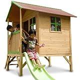 Kinderspielhaus ERIK - Stelzenhaus aus Holz mit roter Rutsche