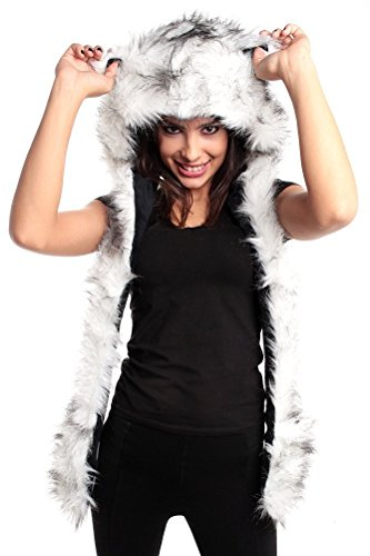 White Wolf  Faux Animal Hoodie