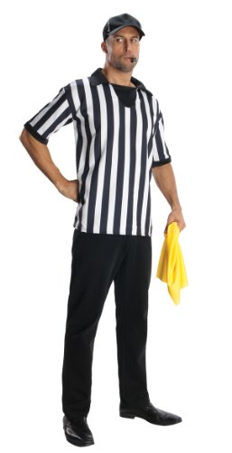Referee Halloween Costume (Shirt, Hat, Flag & Whistle): Adult Men Size XL 40-42