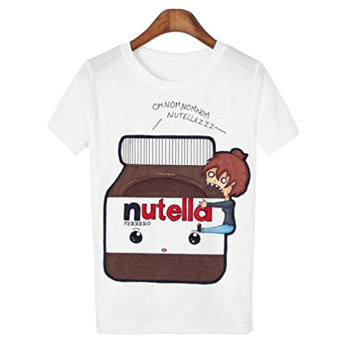 Doxi Supermall Women T Shirt Nutella Harajuku Punk O Neck Casual Top T-Shirt M