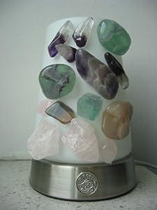 kristall lampe mit edelsteine f r sternzeichen fische amethyst fluorit mondstein rosenquartz. Black Bedroom Furniture Sets. Home Design Ideas
