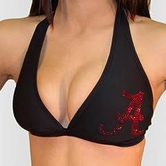 Alabama Crimson Tide Miss Fanatic Shimmer Logo Halter Bikini Top by Miss Fanatics